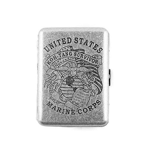 MyLifeUNIT Copper Cigarette Case, United States Marine Corps Retro Design Metal Cigarette Case, Holds 16 Cigarettes (Cigarette Retro)