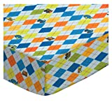 SheetWorld Fitted Portable/Mini Crib Sheet - Argyle Transport Blue - Made In USA