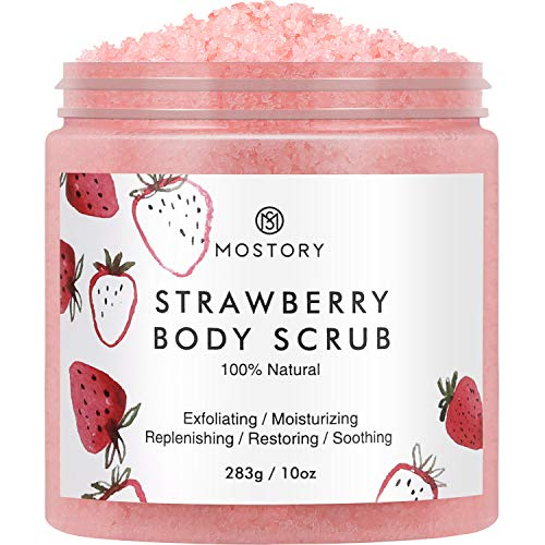 Sweet Strawberry Exfoliating Body Scrub - Organic Dead Sea Salt Natural Exfoliator Anti Aging Acne Cellulite Wrinkles Moisturizing Nourishing Vitamin E Vitamin C Coconut Oil Scrubs for Women Men 10 oz