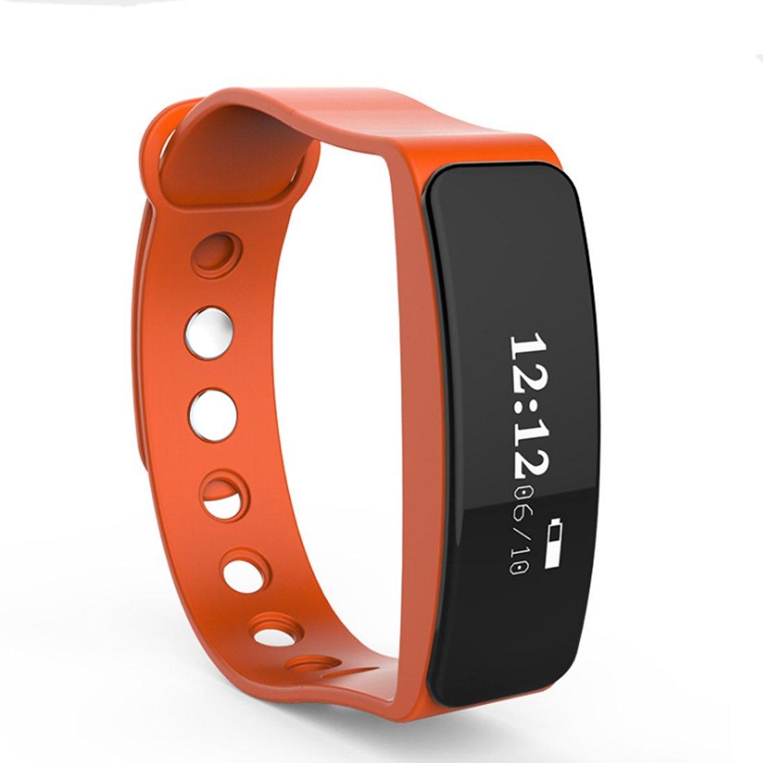 HDWY Smart Armband Schrittzähler Kalorien Schlaf Monitor Entfernung Sport Uhr Walking Lauf App für Frau und Mann (Buy One Get One Free) (Farbe : Orange)