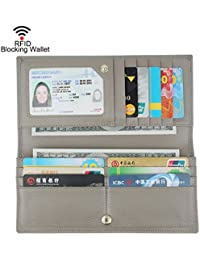 Women RFID Blocking Ultra Slim Real Leather Wallet-Clutch Wallet-Shield Against Identity Theft