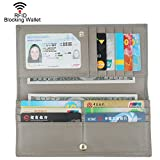 Dante Women RFID Blocking Ultra Slim Leather Wallet-Clutch Wallet(Gray)