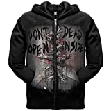The Walking Dead Dead Inside Official Licensed Authentic AMC Adult Hoodie Zip-UP,Black,Large