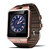 Sazooy DZ09 Bluetooth Smart Watch Touch Screen Smart Wrist Watch Phone Support SIM TF Card With Camera Pedometer Activity Tracker for Iphone IOS Samsung Android Smartphones (Gold)