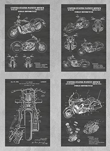 Vintage & Modern Indian Motorcycle Wall Decor Collection: Set of Four Patent Print Art Posters: Choose From Multiple Size and Background Color Options ()