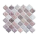 "pink bathroom tile Pink Arabesque Peel and Stick Tile Backsplash for Kitchen, Decorative Self Adhesive Backsplash Tiles 10""x11"" Pack of 6"