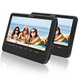 9.5'' Dual Screen DVD Player for Car Headrest Portable DVD player with Games for Kids, SD/USB Slot (Black)