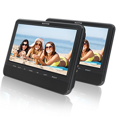 "9.5"" Dual Screen DVD Player for Car Headrest Portable DVD player with Games for Kids, SD/ USB Slot (Black)"