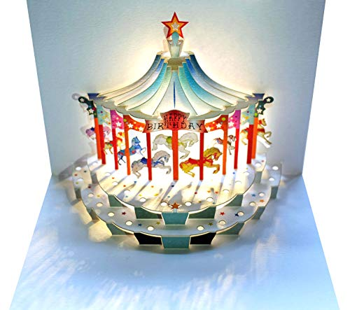 Share in the Birthday Fun with this Charming Happy Birthday Carousel 3D Pop Up Greeting Card | Shadywood Designs | envelope included ()