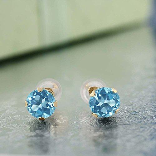 Gem Stone King 14K Yellow Gold Round Swiss Blue Topaz 4-prong Women s Stud Earrings 2.00 cttw, 6mm