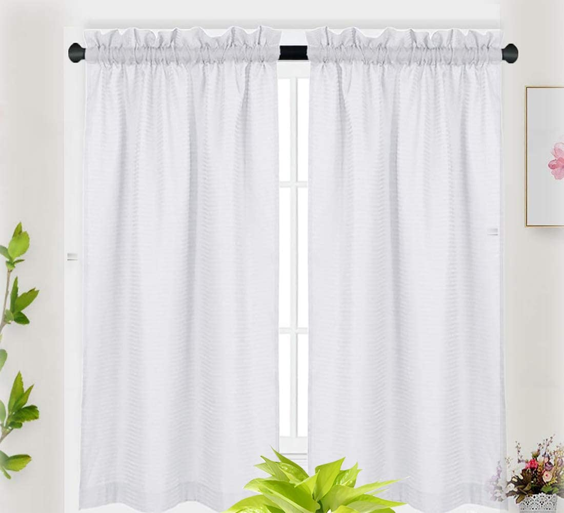 IDEALHOUSE White Tier Curtains,Waffle Woven Textured Short Window Curtain for Cafe,Bathroom,Kitchen & Kids Bedroom Rod Pocket Curtains (2 Panels, 30Inch Wide by 45Inch Long)