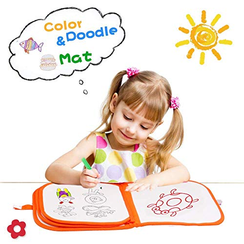 (Walaiji Aqua Doodle Drawing Erase Mat Kids Learning Toys with 6 Color Washable and Erasable Pens)