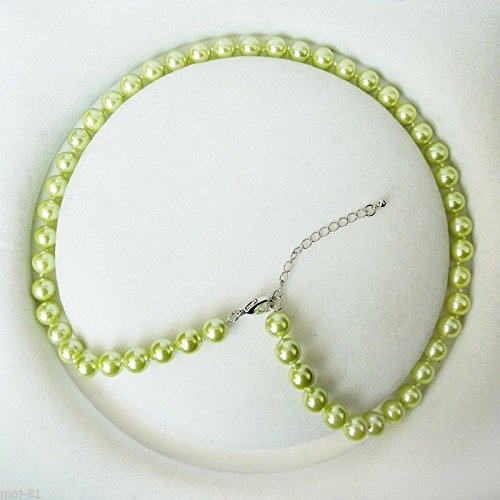 Round Green South Pearl Sea (Genuine 8mm South Sea Green Shell Pearl Round Beads Necklace 18'' AAA)