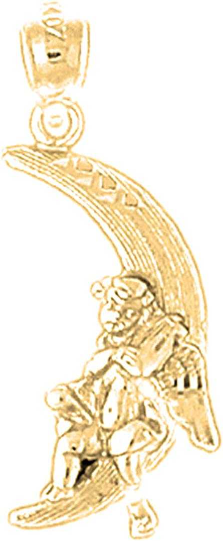 14K Yellow Gold-plated 925 Silver Moon With Angel Pendant Jewels Obsession Silver Moon With Angel Pendant