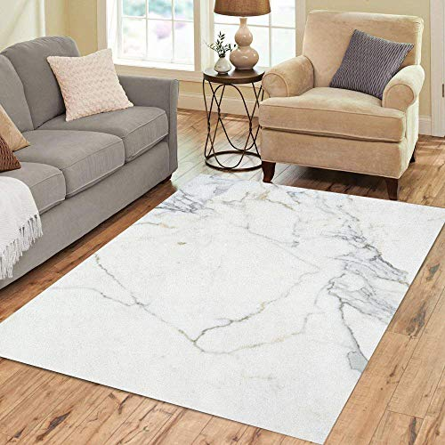 Semtomn Area Rug 5' X 7' Beige Pattern Carrara Marble White Stone Bianco Venatino Brown Home Decor Collection Floor Rugs Carpet for Living Room Bedroom Dining ()