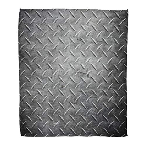 - Golee Throw Blanket Silver Steel Metal Diamond Plate Abstract Industrial Iron Floor Pattern 60x80 Inches Warm Fuzzy Soft Blanket for Bed Sofa