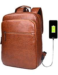 Men Laptop Backpack Brown Leather Daypack School Backpack College Rucksack Bookbag for Men (brown)
