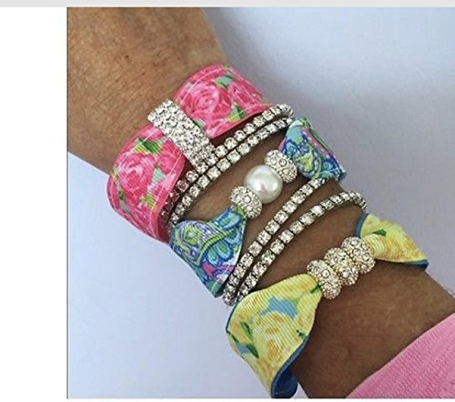 Pink Alligator Ribbon Magnetic Bracelet Set Lilly Pulitzer style HPFI...Mother's Day Gift...Graduation...Birthday...Easter..Trendy..Upscale..Boutique