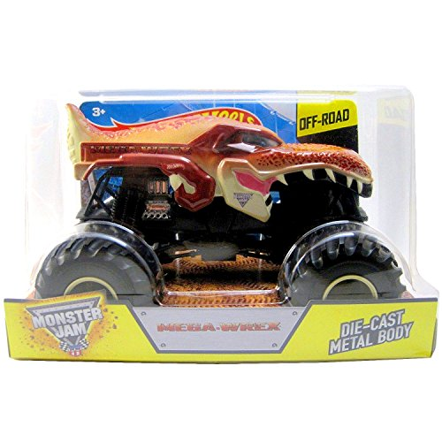 Hot Wheels Year 2015 Monster Jam 1:24 Scale Die Cast Official Monster Truck Series : MEGA-WREX (CGD63) with Monster Tires