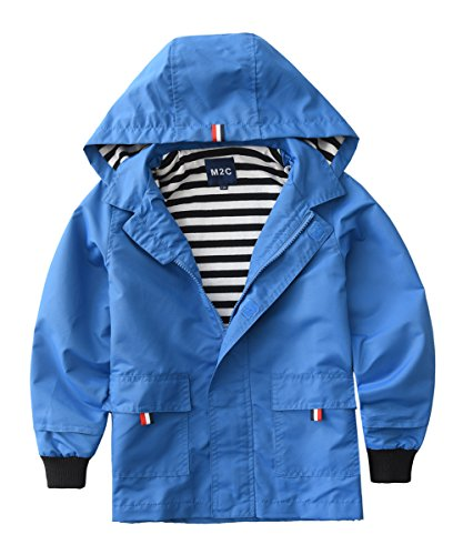 M2C Boys Raincoat Hooded Jacket Outdoor Light Windbreaker 4/5 Blue ()