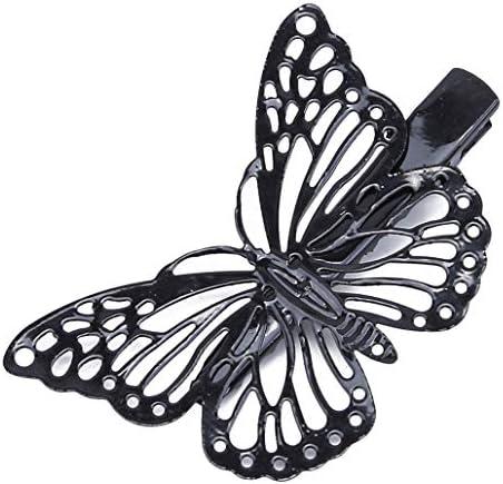 MARUIKAO ヘアクリップ 蝶型 中空 ヘアアクセサリー ヘアピン レディース 髪留め キラキラ 輝く ヘッドドレス 髪飾り