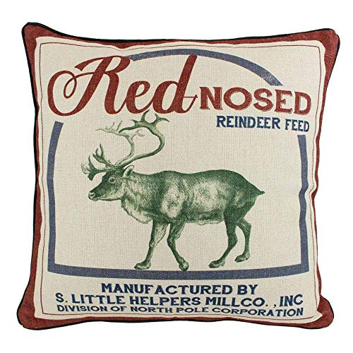 JuniperLab Vintage Christmas Red Nose Reindeer Pillow Covers Farmhouse Throw Pillow Feed Sack Burlap Cushion Cover ()