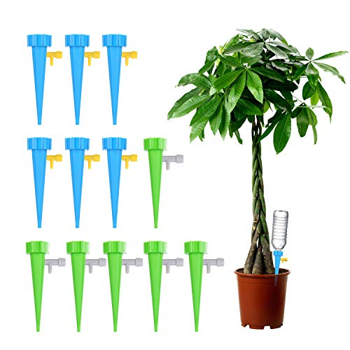 (Plant Self Watering Spikes Vacation Automatic Plant Waterer Drip Irrigation Slow Release Device Potted Plants Watering Tool with Slow Release Switch Control Valve Care Your Plants and Flowers (12pcs) )