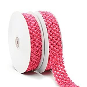Elastic crochet headband ribbon, 1-1/4 inch (30mm) x 5 yards x 2 rolls, Posh pink. Hair accessories, hair bow, waistband for baby, boy and girl