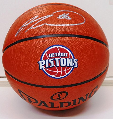Andre-Drummond-Autographed-Basketball-Spalding-Detroit-Pistons-Logo-Autographed-Basketballs