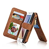 RAYTOP 15-Slot Card Holders, Samsung Galaxy S6 Case, Inside Cover Removable from Wallet, Button + Zip + Magnet Closure, Multiple Pockets for Money / ID Cards / Driving License, Soft Brown Leather
