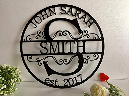 (Personalized Family Last Name Sign Initial Split Letter Wreath Wedding Gift Custom First Names Est Year Established Sign Monogram Door Hanger Wall Decor Housewarming Gift for Couple Acrylic Wood Metal)