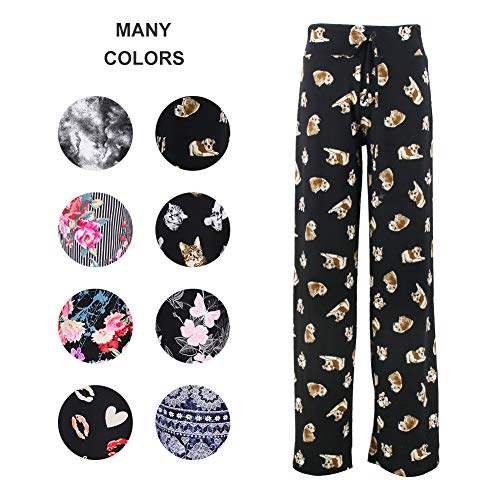 Buttery Soft Pajama Pants for Women - Floral Print Drawstring Casual Palazzo Sweatpants Wide Leg for All Seasons (L, Dog) ()