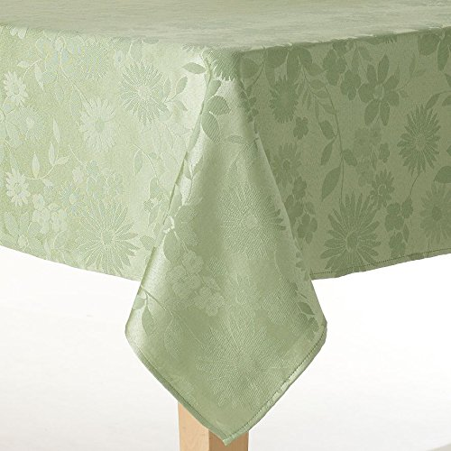 Spring Green Floral Fabric Tablecloth (60 x 84 Rectangle/Oblong)