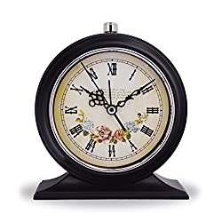 Vintage Hotel Style Retro Old Fashioned Decorative Quiet Non-ticking Sweep Second Hand, Quartz Analog Desk Clock, Battery Operated, Loud Alarm, Nightlight Function (Flower Blossom)