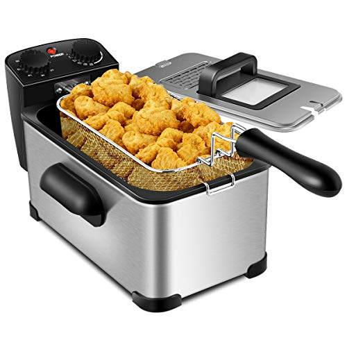 COSYWAY Stainless Steel Deep Fryer, 1700W Electric Deep Fryer -3.2qt Oil Container & Lid w/View Window, 12 Cups Frying Basket w/Hook, Adjustable Temperature & Timer, Professional Grade