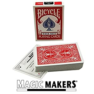 Magic Makers Bicycle Stripper Deck With 10 Bonus Tricks (Red) - Tapered Magic Trick Deck