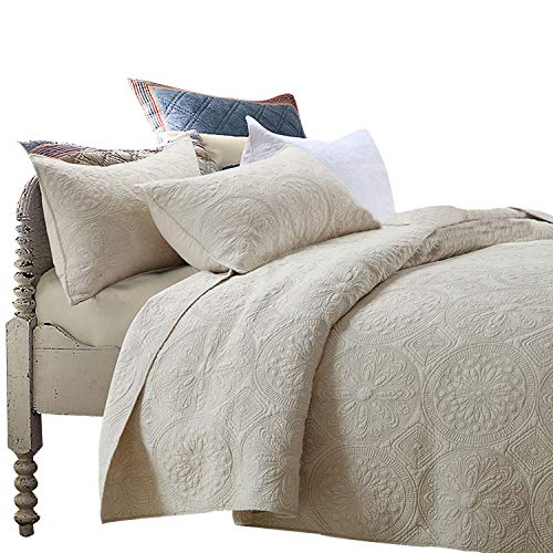 Brandream Luxury Beige Bedding Set 3 Piece Oversized Bedspread Quilt Set Queen Size