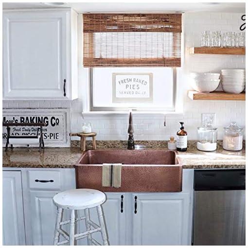 Farmhouse Kitchen Sinkology SEK307-33-AMZ-B Lange Farmhouse 32 in. Single Bowl Strainer Kitchen Sink with Drain, Antique Copper farmhouse kitchen sinks