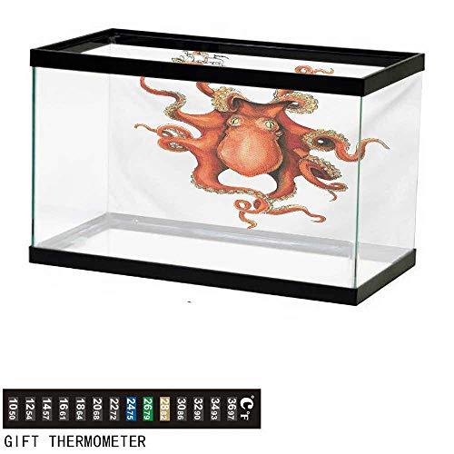 wwwhsl Aquarium Background,Octopus,Kraken Octopus Holding Sailing Ship in Tentacles Mythical Monster Nautical Theme,White Orange Fish Tank Backdrop 72