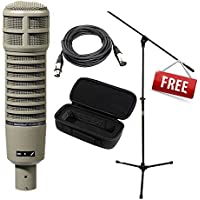 Electro-Voice RE20 Broadcast Announcer Microphone with Variable-D + Free Mic Bag, Mic Stand W/ boom and XLR cable 15ft