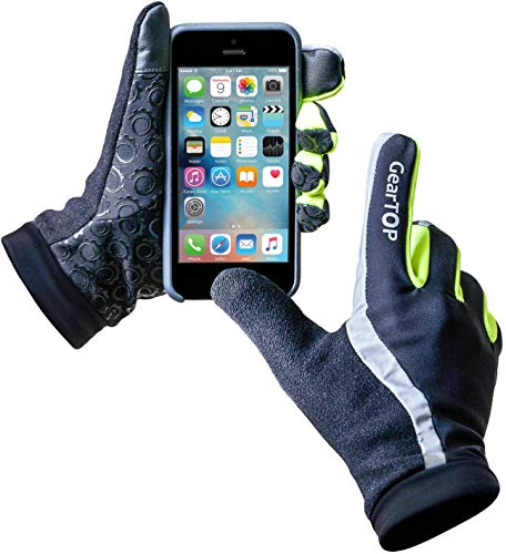 (GearTOP Safety Reflective Gloves for Men & Women, Perfect for Night & Winter Runs, Multi-Purpose Running Gloves XL for Cycling, Biking, Driving & for All Weather Conditions - Extra Large)
