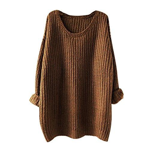 Longues Hiver Manches Rond Maille Chaud pour Sweaters Chandails Femme Pull Col Kaki en Tricot Wq1IFF