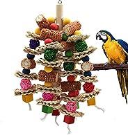 RF-X Parrot Bird Toys, Macaw Natural Corn cob chew Toys, Small to Medium Sized Bird Toys for Australian Blue-C