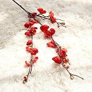 YJYdada Artificial Fake Flowers Plum Blossom Floral Wedding Bouquet Home Decor (Red) 2