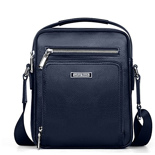 Luckyer Beauty Men's Leather Shoulder bag Tote bag Business Backpack blue small by Luckyer Beauty