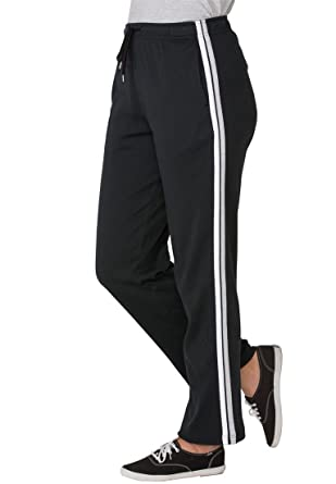 4f3b45b5dfe1c Woman Within Plus Size Sport Knit Side-Stripe Pant - Black White Heather  Grey