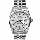 Rolex Mens 36mm Stainless Steel Datejust Swiss-Automatic Watch - 16014 - Silver Linen Dial – White Gold Fluted Bezel – Stainless Steel Jubilee Band (Certified Pre-Owned)