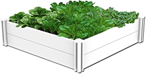 kdgarden Raised Garden Bed Kit 4'x4' Outdoor Above Ground Planter Box for Growing Vegetables Flowers Herbs, DIY Gardening, Whelping Pen and More, Screwless White Vinyl Garden Bed with Grid