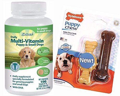 Best Multi-Vitamins For Small Dogs And Puppies- Excel Chewable Tablets Provide The Correct Balance of Vitamins and Minerals Essential For A Growing Puppy- 100% Natural - Includes Nylabone Puppy (Excel Dog Vitamins)