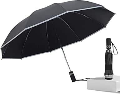 Junefish Inverted Windproof Umbrella with UV Coating,10 Ribs Auto Open and Close Travel Umbrella with Night Reflective Stripes for Safety (Black)